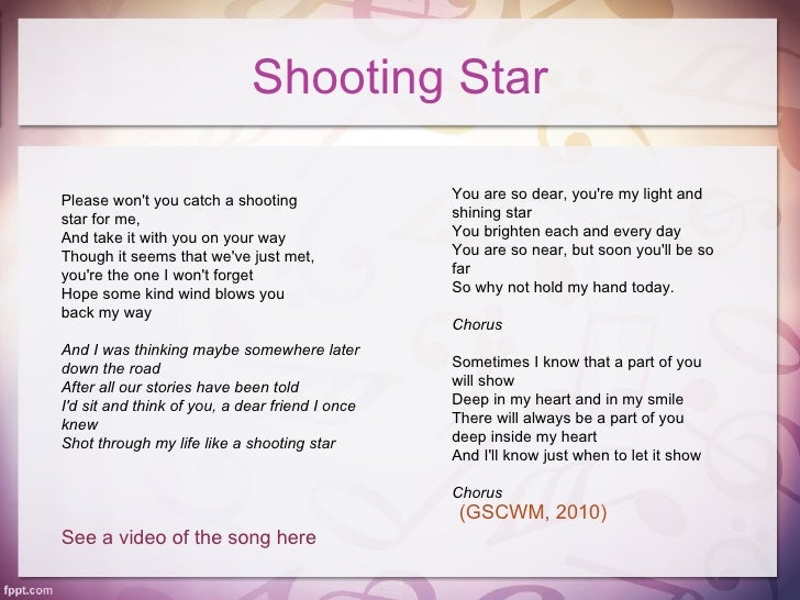 Shooting StarPlease Wont You Catch A