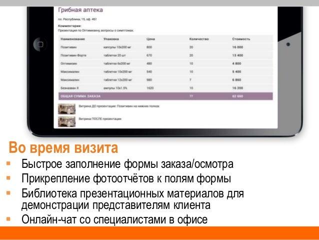 Во время визита  Быстрое заполнение формы заказа/осмотра  Прикрепление фотоотчётов к полям формы  Библиотека презентаци...