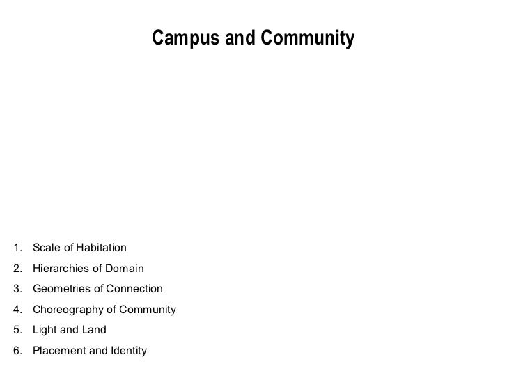 Campus and Community1. Scale of Habitation2. Hierarchies of Domain3. Geometries of Connection4. Choreography of Community5...