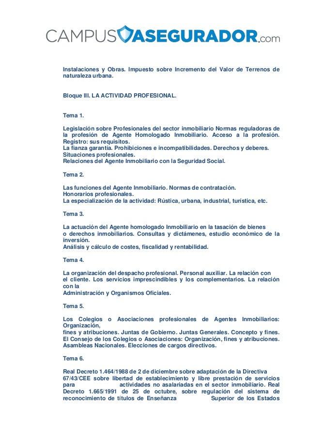 Instalaciones y Obras. Impuesto sobre Incremento del Valor de Terrenos de naturaleza urbana. Bloque III. LA ACTIVIDAD PROF...