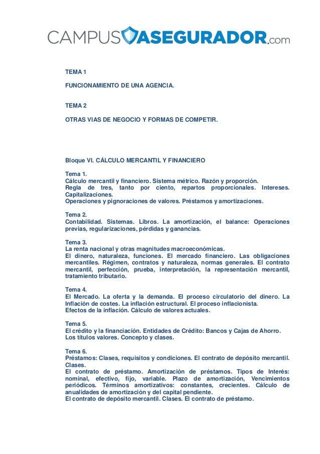 TEMA 1 FUNCIONAMIENTO DE UNA AGENCIA. TEMA 2 OTRAS VIAS DE NEGOCIO Y FORMAS DE COMPETIR. Bloque VI. CÁLCULO MERCANTIL Y FI...