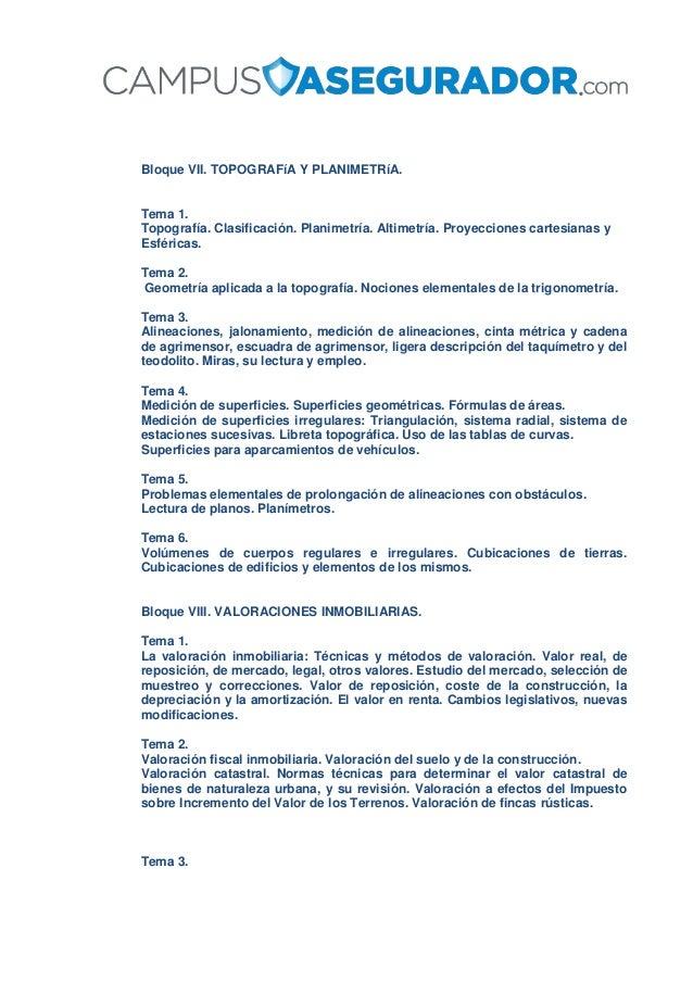 Bloque VII. TOPOGRAFíA Y PLANIMETRíA. Tema 1. Topografía. Clasificación. Planimetría. Altimetría. Proyecciones cartesianas...