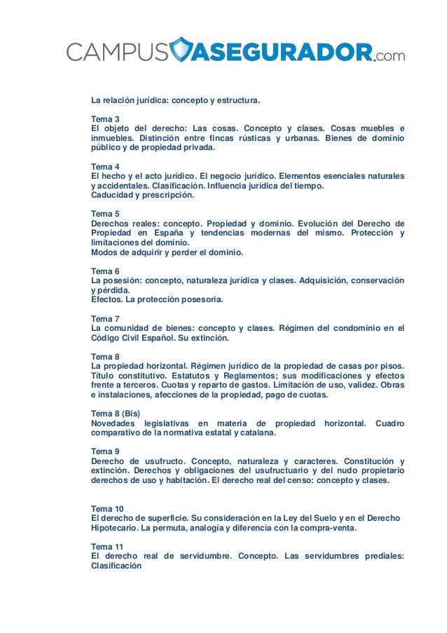 La relación jurídica: concepto y estructura. Tema 3 El objeto del derecho: Las cosas. Concepto y clases. Cosas muebles e i...