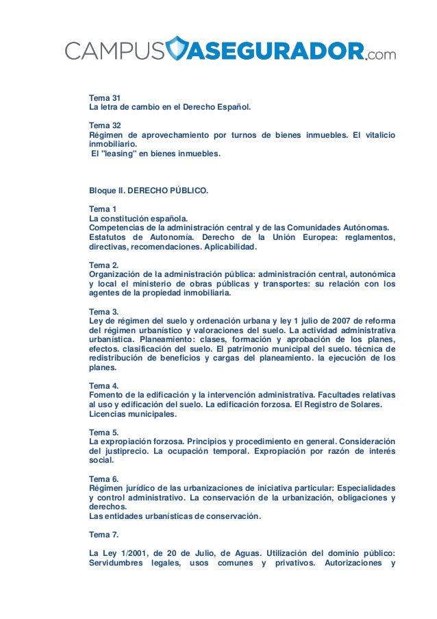 Tema 31 La letra de cambio en el Derecho Español. Tema 32 Régimen de aprovechamiento por turnos de bienes inmuebles. El vi...