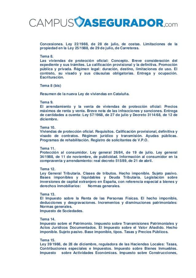 Concesiones. Ley 22/1988, de 28 de julio, de costas. Limitaciones de la propiedad en la Ley 25/1988, de 29 de julio, de Ca...