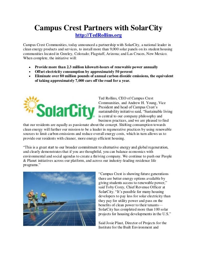 Campus Crest Partners with SolarCity                                   http://TedRollins.orgCampus Crest Communities, toda...