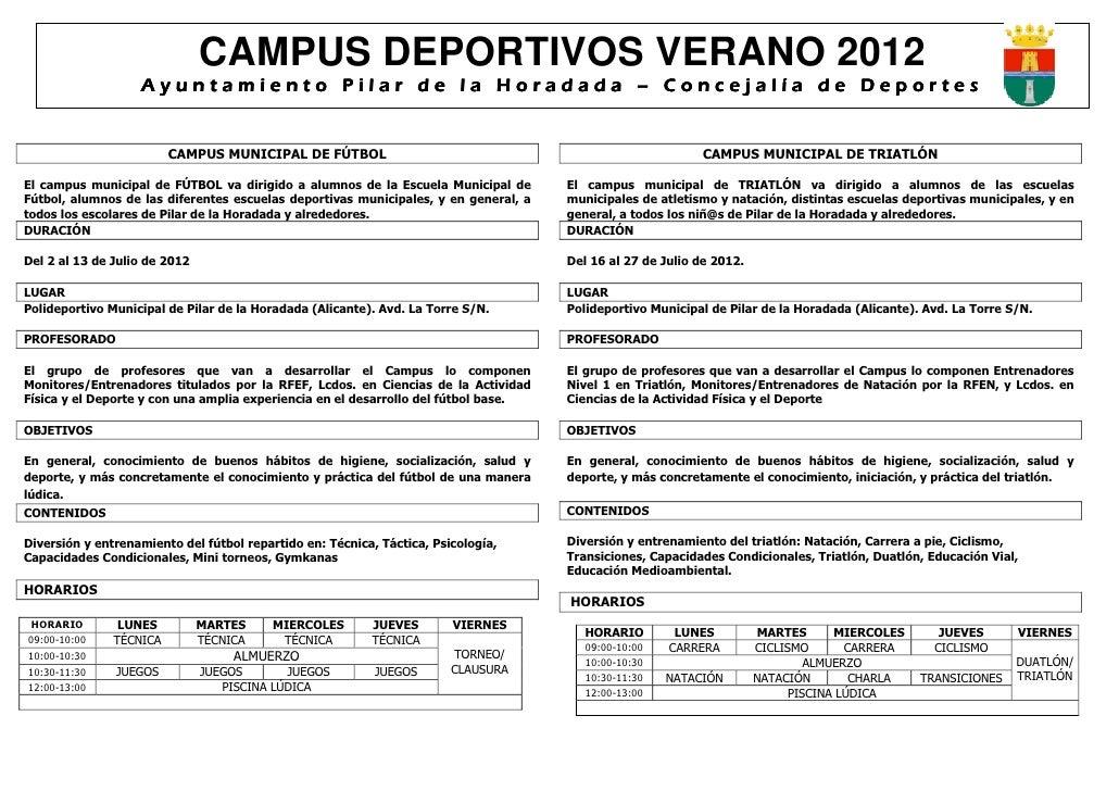 CAMPUS DEPORTIVOS VERANO 2012                   Ayuntamiento Pilar de la Horadada – Concejalía de Deportes                ...