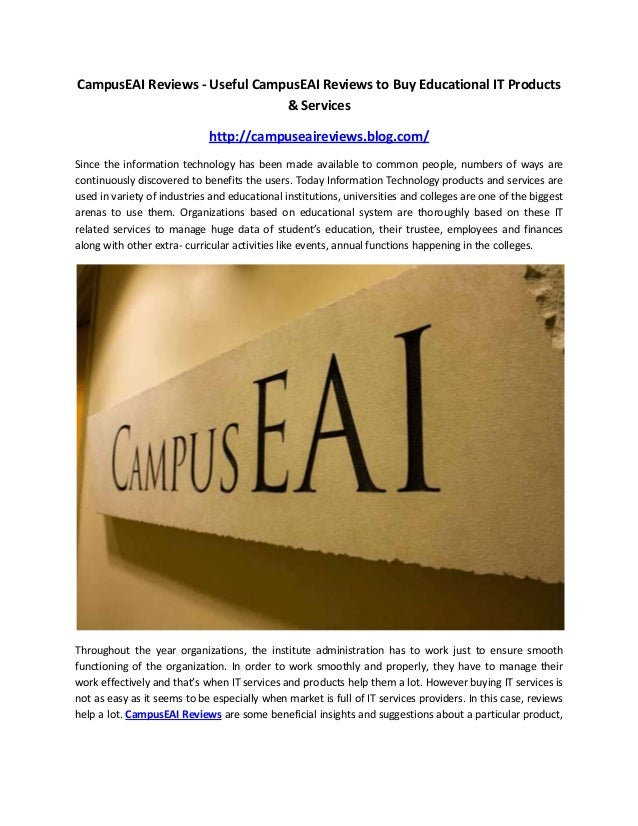 CampusEAI Reviews - Useful CampusEAI Reviews to Buy Educational IT Products & Services http://campuseaireviews.blog.com/ S...
