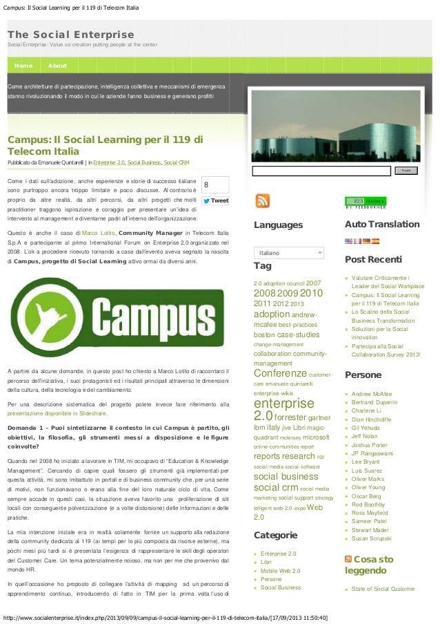 Campus: Il Social Learning per il 119 di Telecom Italia http://www.socialenterprise.it/index.php/2013/09/09/campus-il-soci...