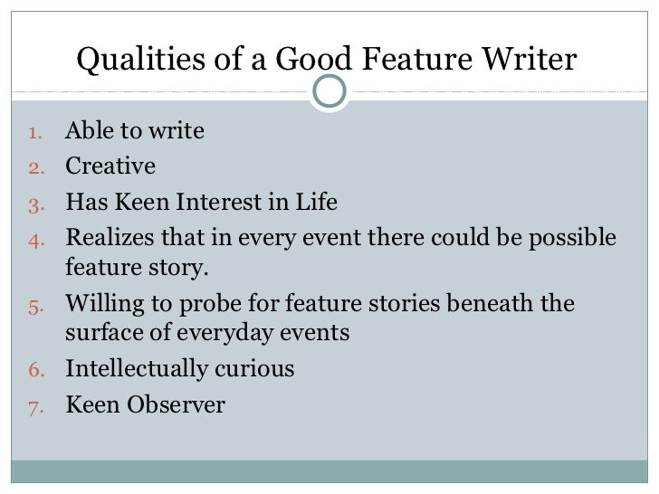 Feature writing in journalism