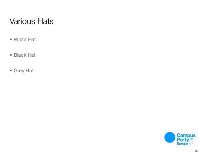 Various Hats • White Hat • Black Hat • Grey Hat 38