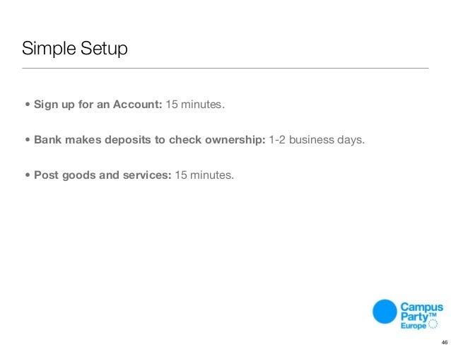 Simple Setup • Sign up for an Account: 15 minutes. • Bank makes deposits to check ownership: 1-2 business days. • Post goo...