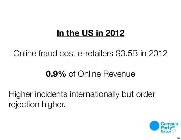 ? In the US in 2012 Online fraud cost e-retailers $3.5B in 2012 0.9% of Online Revenue Higher incidents internationally bu...