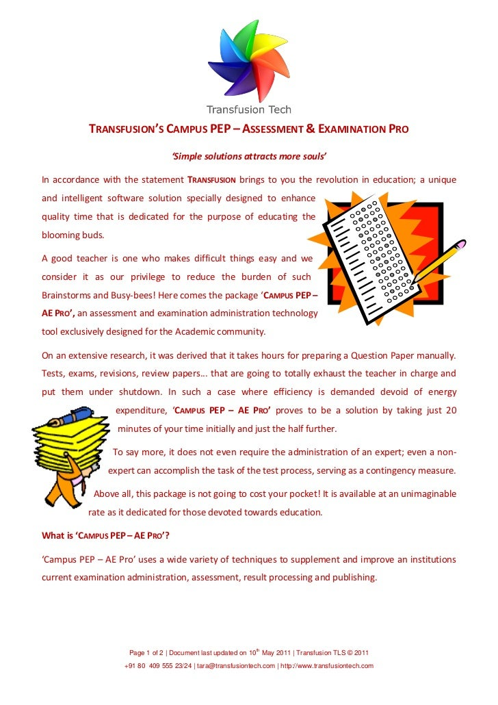 TRANSFUSION'S CAMPUS PEP – ASSESSMENT & EXAMINATION PRO                                   'Simple solutions attracts more ...