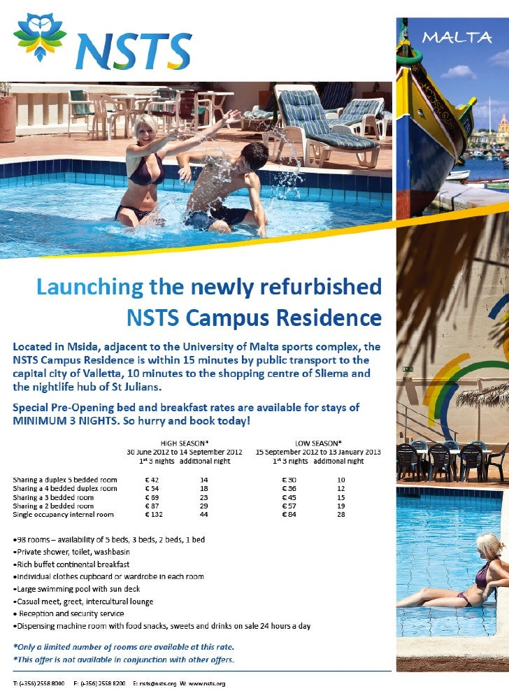 NSTS Campus Residence Special Pre-Opening Rates