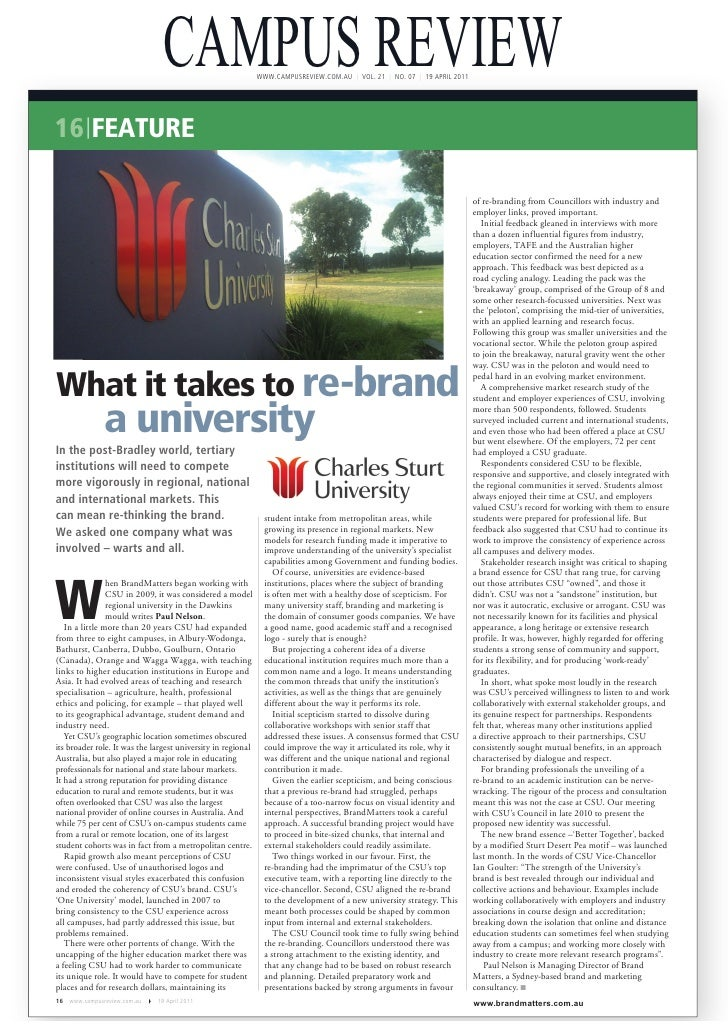 CAMPUS REVIEW                 WWW.CAMPUSREVIEW.COM.AU | VOL. 21 | NO. 07 | 19 APRIL 201116 FEATURE                        ...