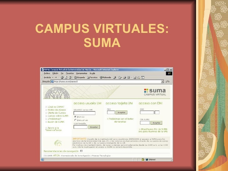 CAMPUS VIRTUALES: SUMA