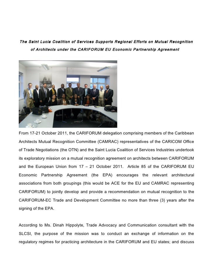 The Saint Lucia Coalition of Services Supports Regional Efforts on Mutual Recognition      of Architects under the CARIFOR...