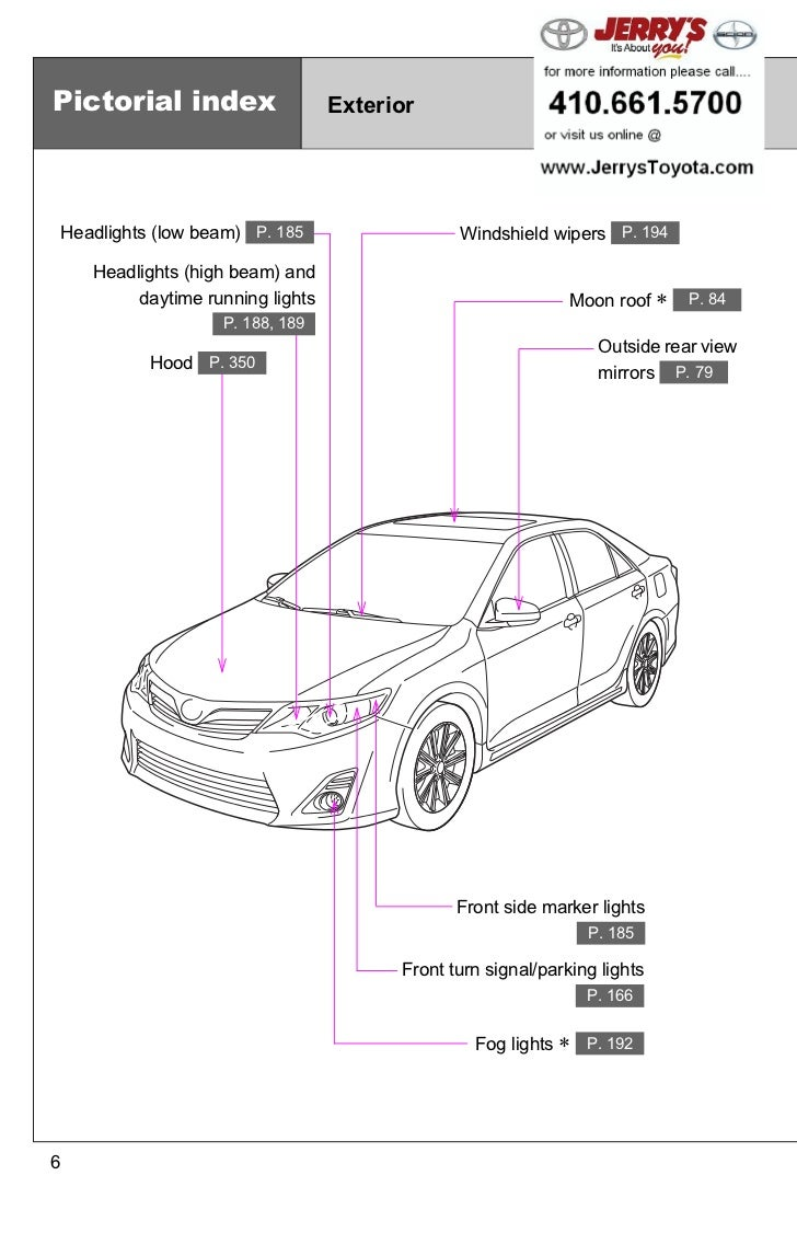 2012 Toyota Camry Baltimore, Maryland. Pictorial index Exterior Headlights  (low beam) P. 185 ...