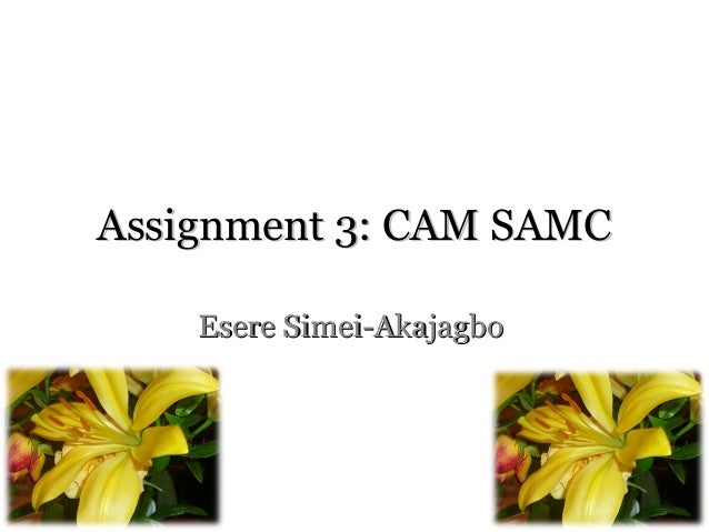 Assignment 3: CAM SAMCAssignment 3: CAM SAMC Esere Simei-AkajagboEsere Simei-Akajagbo