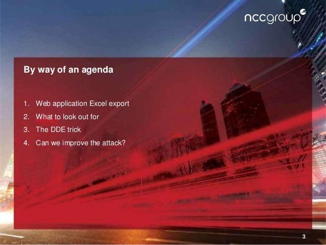 CamSec Sept 2016 - Tricks to improve web app excel export attacks Slide 3