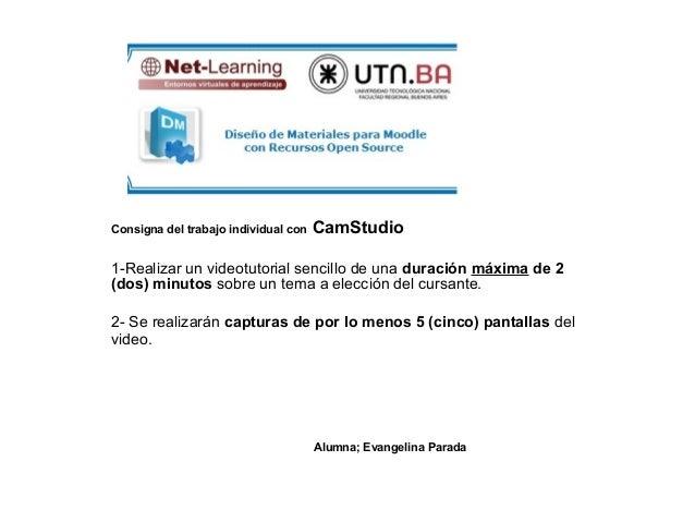 Consigna del trabajo individual con   CamStudio1-Realizar un videotutorial sencillo de una duración máxima de 2(dos) minut...