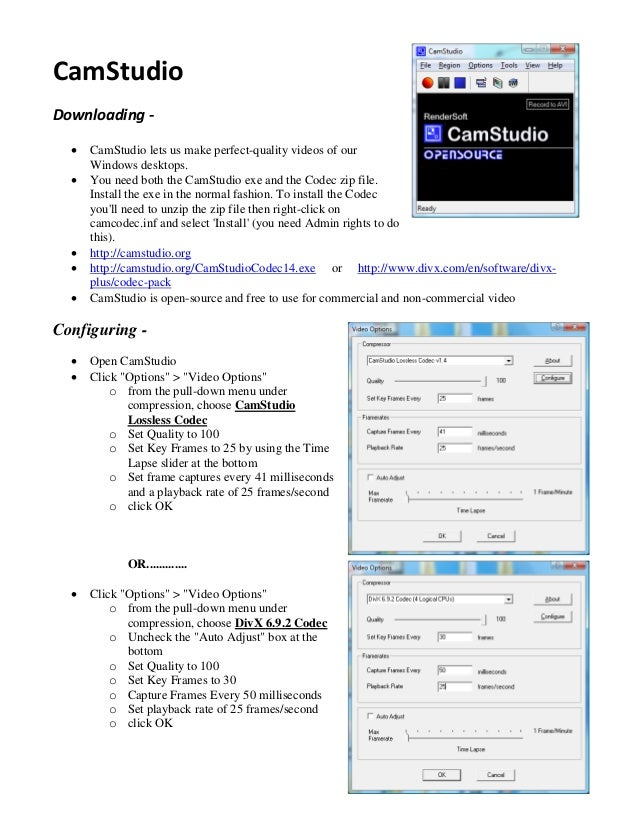 CamStudio User Guide - VIDEO EDITING AND MAKING SOFTWARE