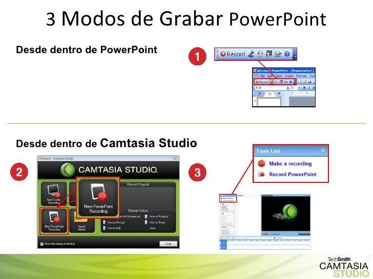 3  Modos de Grabar  PowerPoint Desde dentro de PowerPoint Desde dentro de   Camtasia Studio