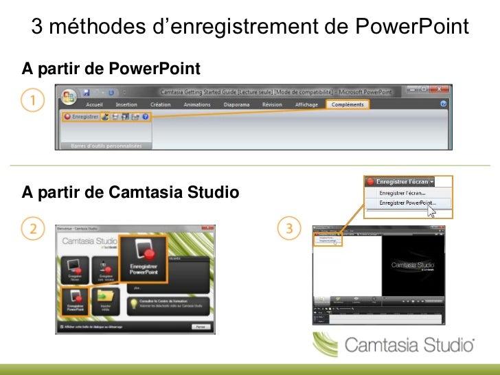 3 méthodes d'enregistrement de PowerPoint<br />A partir de PowerPoint<br />A partir de Camtasia Studio<br />
