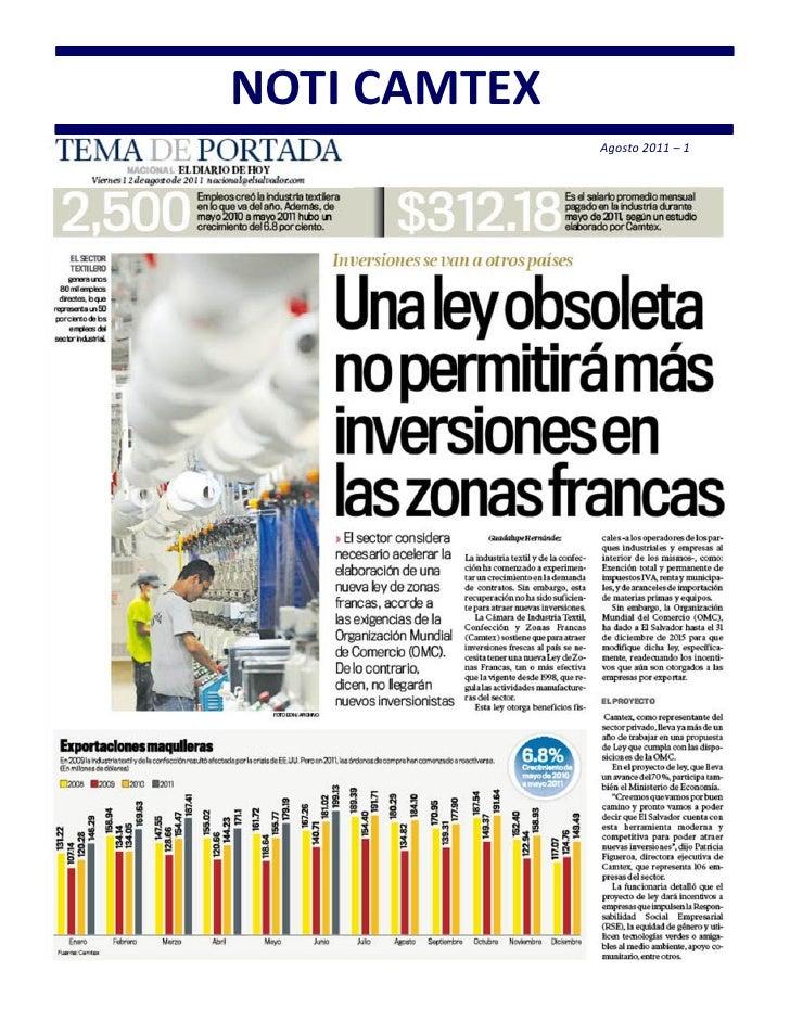 NOTI CAMTEX              Agosto 2011 – 1