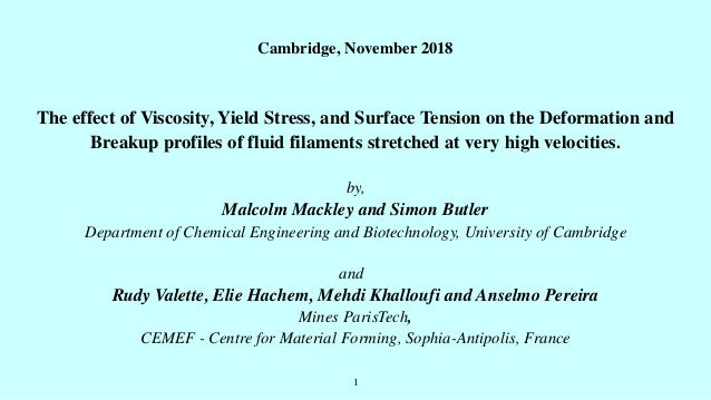 1 Cambridge, November 2018 The effect of Viscosity, Yield Stress, and Surface Tension on the Deformation and Breakup profi...