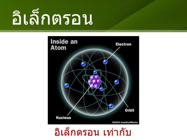 อิเล็กตรอน <ul><li>อิเล็กตรอน เท่ากับ โปรตรอน </li></ul>