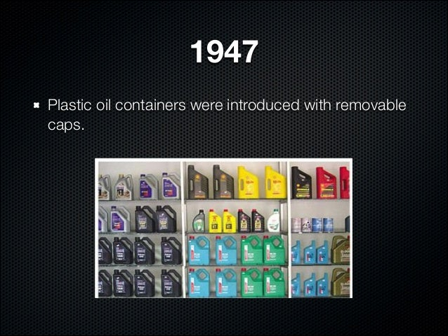1947Plastic oil containers were introduced with removablecaps.