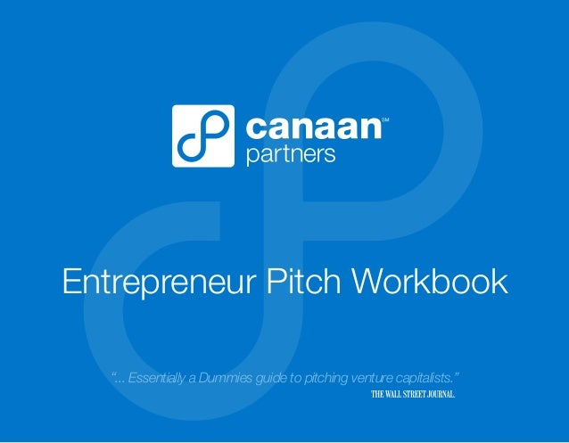 "Entrepreneur Pitch Workbook ""... Essentially a Dummies guide to pitching venture capitalists."""