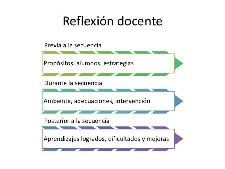 Reflexión docentePrevia a la secuenciaPropósitos, alumnos, estrategiasDurante la secuenciaAmbiente, adecuaciones, interven...