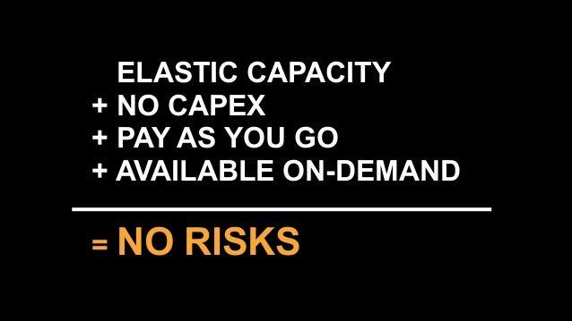 carlosco@amazon.com @caarlco + ELASTIC CAPACITY + NO CAPEX + PAY AS YOU GO + AVAILABLE ON-DEMAND = NO RISKS