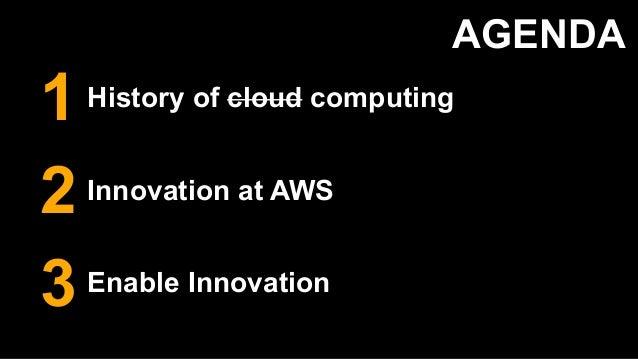 AGENDA History of cloud computing Innovation at AWS Enable Innovation 1 3 2