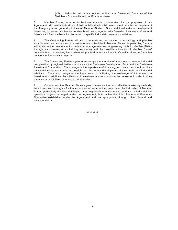 Canada Caricom Trade Economic Cooperation Agreement