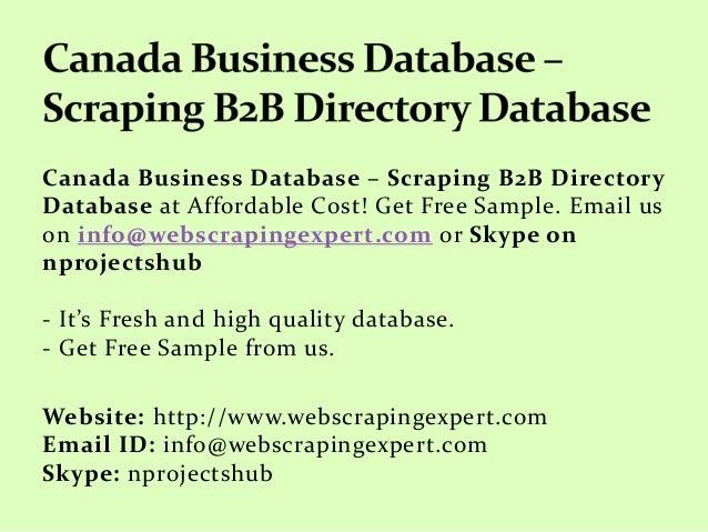 Canada Business Database – Scraping B2B Directory Database