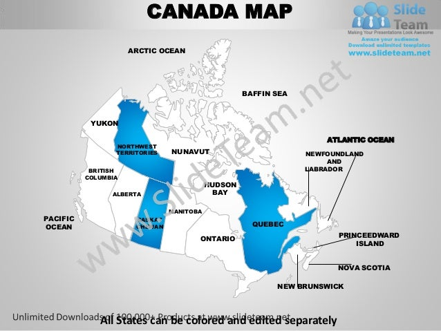 Map Of States Of Canada.Canada Country Editable Powerpoint Maps With States And Counties Temp