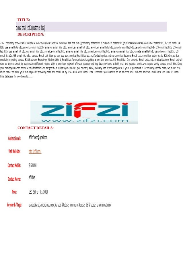 Canada email list b2c (customer data)