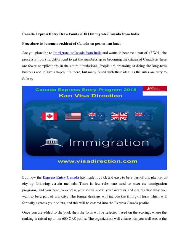 Canada Express Entry Draw Points 2018 | Immigrate2Canada