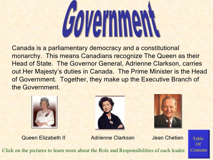 an overview of the constitutional monarchy of canada and the responsibilities of the government Canada is what is known as a democratic federation with both federal and provincial levels of government responsibilities and powers are divided between the federal branch and its provincial executives.