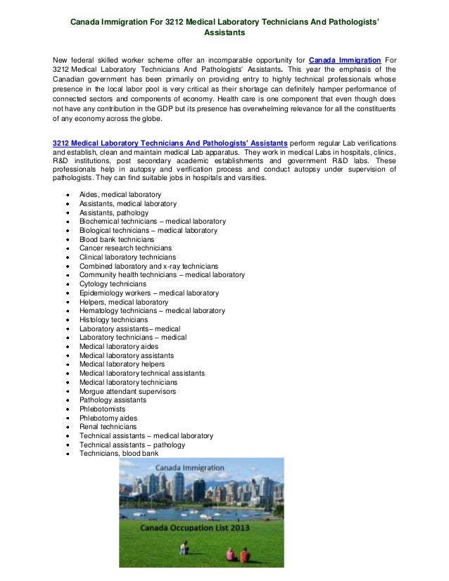 Canada Immigration For 3212 Medical Laboratory Technicians And PathologistsAssistantsNew federal skilled worker scheme off...