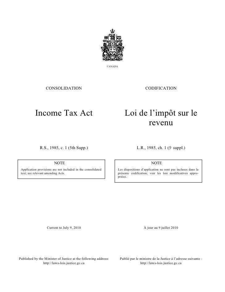 CANADA                   CONSOLIDATION                                                            CODIFICATION           I...