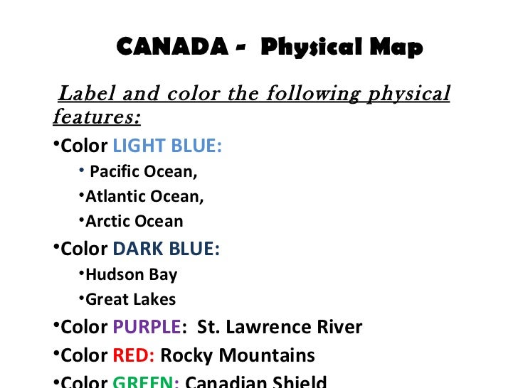 Canada - Physical Map Assignment