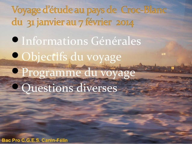 Informations Générales Objectifs du voyage Programme du voyage Questions diverses  Bac Pro C.G.E.S. Canin-Félin
