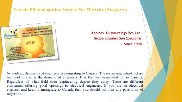 Canada PR Immigration Service For Electrical Engineers Abhinav Outsourcings Pvt. Ltd. Global Immigration Specialist Since ...