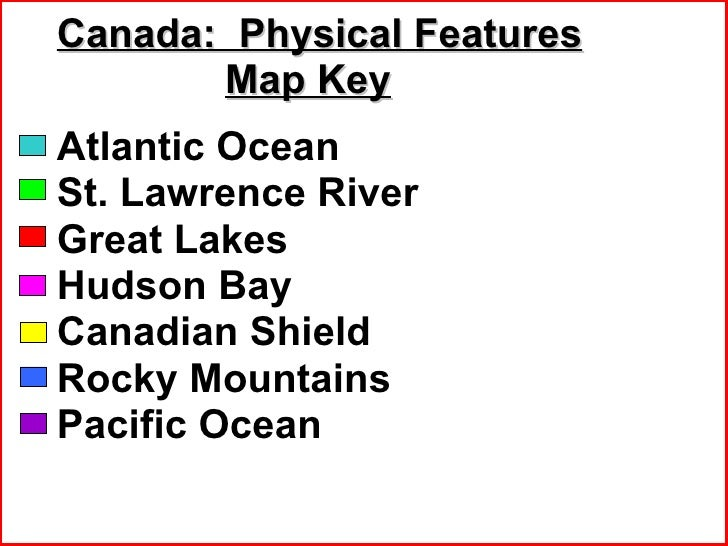 Canadas Geography Eq - Physical features of canada map