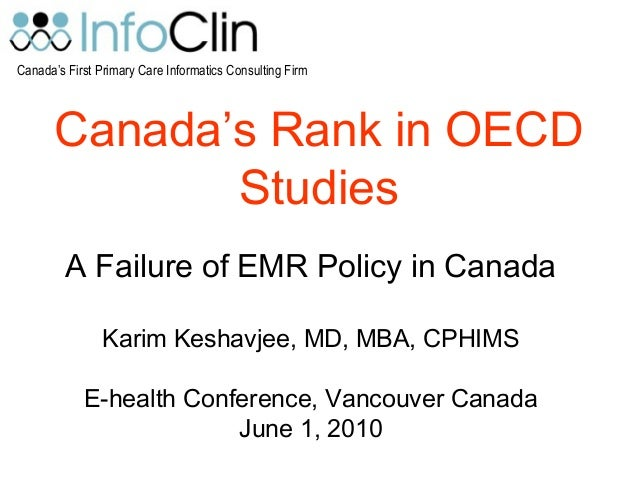 Canada's First Primary Care Informatics Consulting Firm Canada's Rank in OECD Studies A Failure of EMR Policy in Canada Ka...